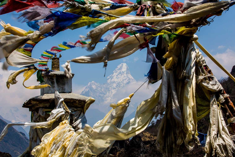 Prayer flag in the Khumbu Valley towards Ama Dablam